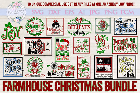 Farmhouse Christmas Bundle Including 18 Designs