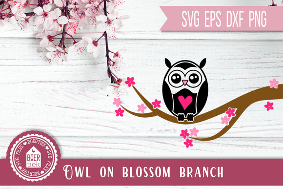 Owl on blossom branch