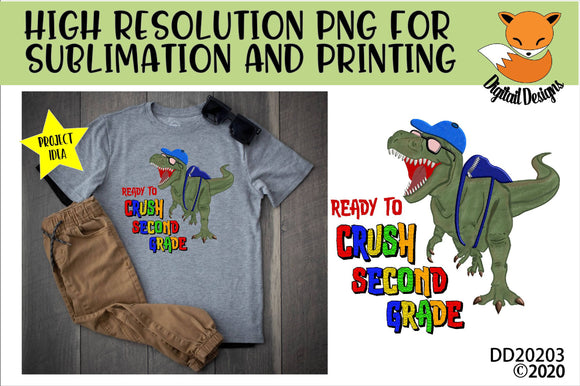 Dinosaur T-Rex Crush Second Grade Sublimation Design