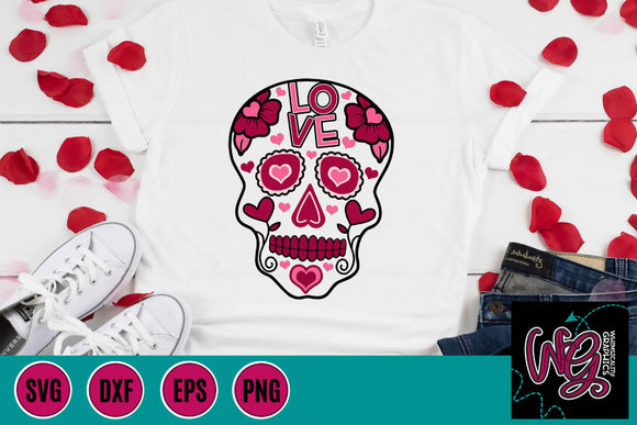 Valentine Sugar Skull Cut File