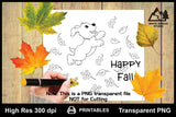 Happy Fall Puppy Playing With Leaves Printable Line Art PNG