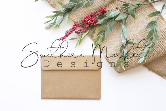 5x7 CHRISTMAS CARD ENVELOPE BACK DIGITAL MOCK UP STOCK PHOTOGRAPHY
