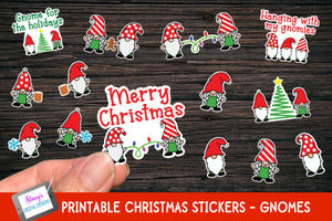 Gnome Christmas Stickers - 14 Print and Cut Stickers