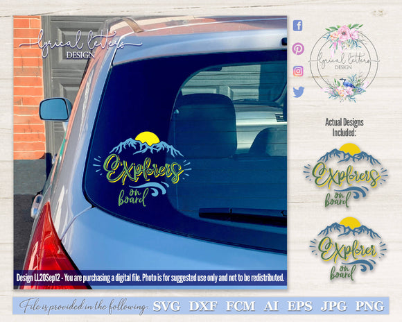 Explorer Explorers On Board Car Decal SVG Cut File