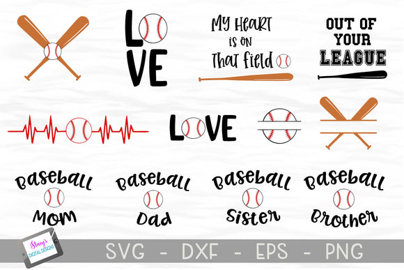 Baseball SVG Bundle - Includes 12 Baseball SVG Designs