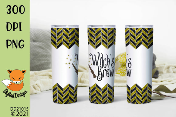 Yellow and Black Chevron Witch's Brew Skinny Tumbler Sublimation Design