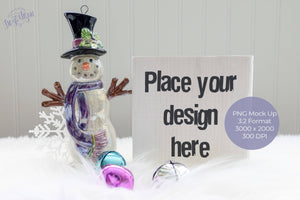 White Wood Block Sign Snowman PNG Mock Up