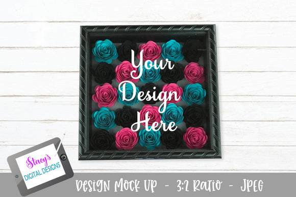 Mock Up - Rolled Flower shadow box - Black, Teal and Hot Pink