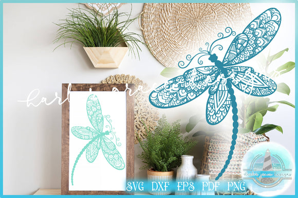 SVG Dragonfly Mandala Zentangle | Mandala SVG Dragonfly SVG