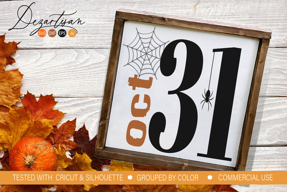 October 31 Halloween SVG | DXF Cut File