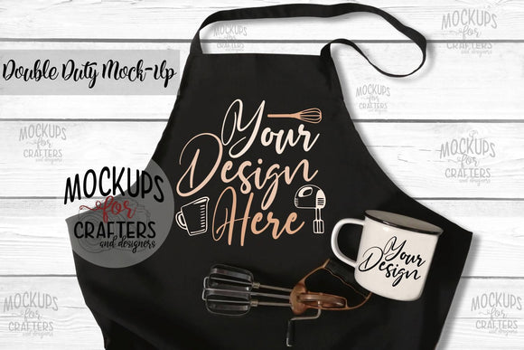 Double Duty Mock-Up - Apron & Mug