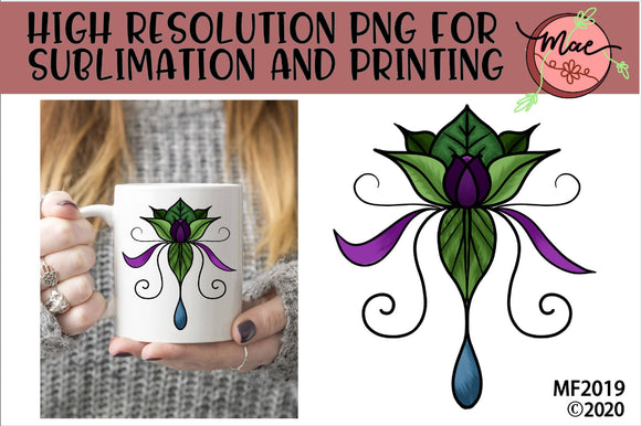 Lotus Flower Tattoo Style Boho Sublimation Design