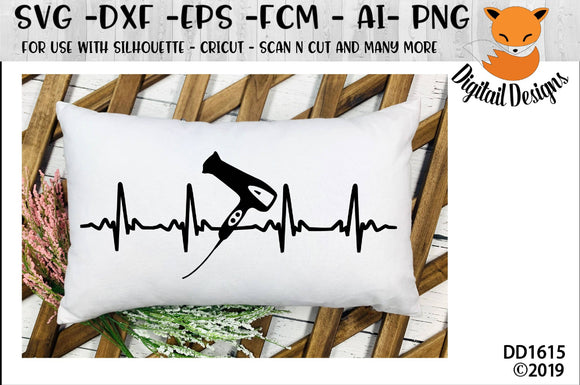 Hair Dresser Stylist Dryer EKG Heartbeat SVG Design