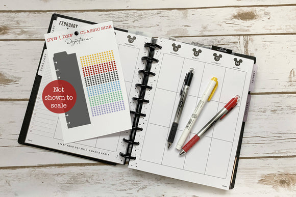 Planner Essential Transparent Dots & Dashboard SVG | DXF Premium Cut File for Cricut & Silhouette Machines