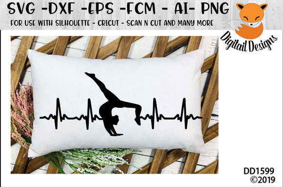 Gymnastics or Dance Heartbeat EKG SVG