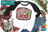 Merry Christmas Red Truck Stripes - PNG Printable