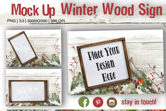Winter wood Sign Mock Up