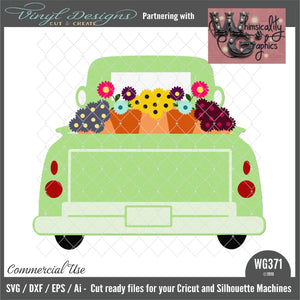 Spring Flowers Antique Truck Cut File WG371