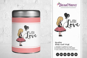 With Love SVG - Girl with Balloon SVG Illustration