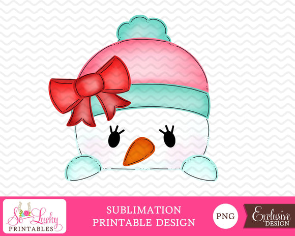 Snowgirl Peeker watercolor printable sublimation design - Digital download - PNG - Printable