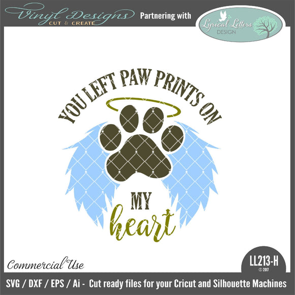 You Left Paw Prints On My Heart Dog Floating Ornament Design