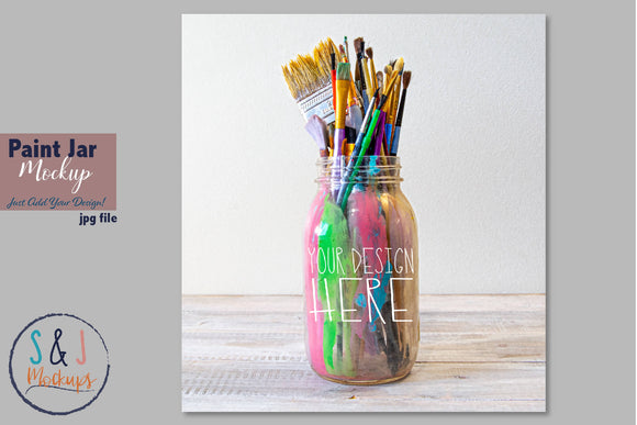 Paint Jar Stock Photo mockup