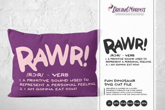 Rawr Definition SVG - Fun Dinosaurs SVG Cut Files