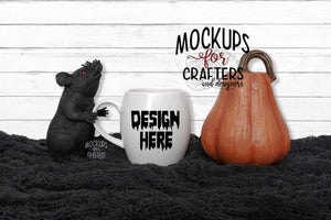 White Mug Mock-Up, Halloween theme