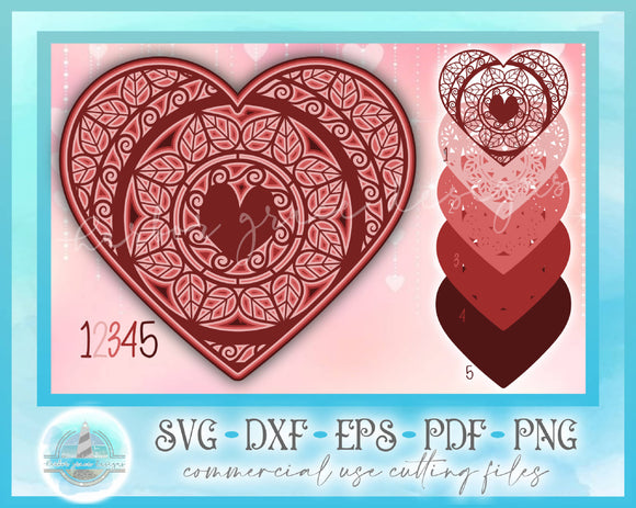3D Layered Design | 3D Heart Mandala | Valentines 3D Heart