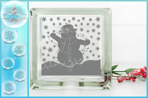 Snowlady with Lights Christmas Glass Block Design SVG