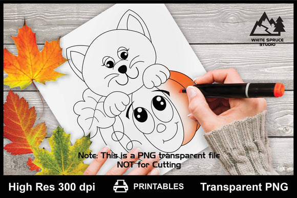 Cartoon Pumpkin & Kitty Printable Line Art PNG