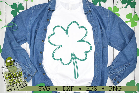 4 Leaf Clover Scribble - St. Patrick's Day SVG Cut File