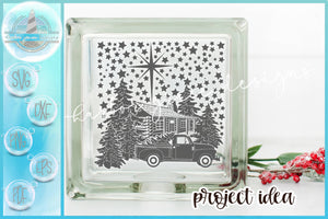 Cabin Truck and Trees Christmas Scene Glass Block Design