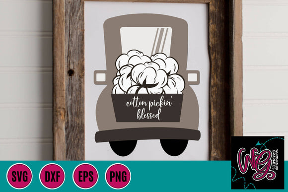 Cotton Pickin' Blessed Whimsy Truck Cut File