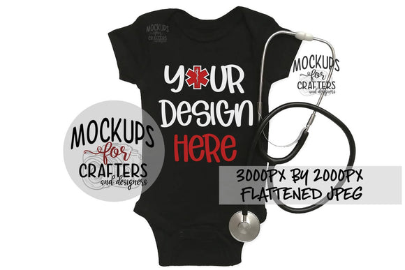 Baby Bodysuit with stethoscope, Mock-Up