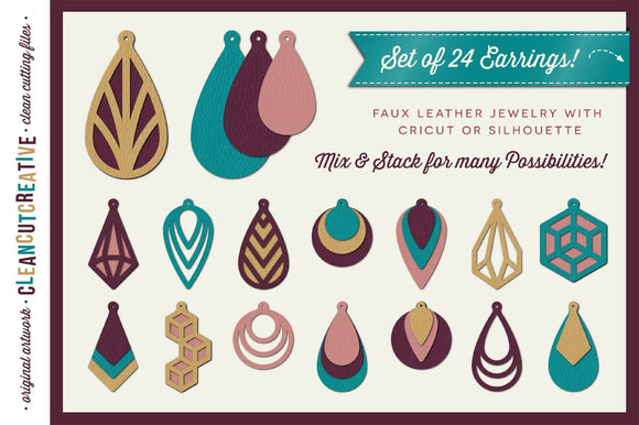 Faux Leather Jewelry SVG DXF Cut File