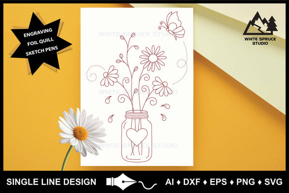 Single Line Design, Foil Quill, Foil Transfer, Engraving, Embossing, Drawing SVG, Wildflowers, Butterfly, Mason Jar
