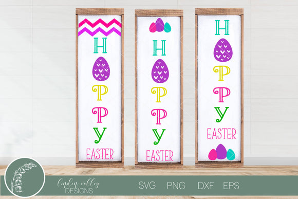 Hoppy Easter Porch Sign Set of 3 Version 2|Porch Sign|Easter SVG