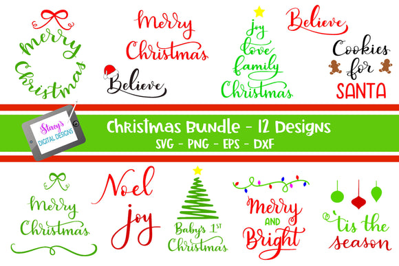 Christmas SVG Bundle - Vol 2 - 12 Christmas SVG Designs