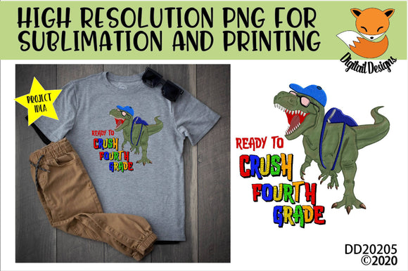 Dinosaur T-Rex Crush Fourth Grade Sublimation Design