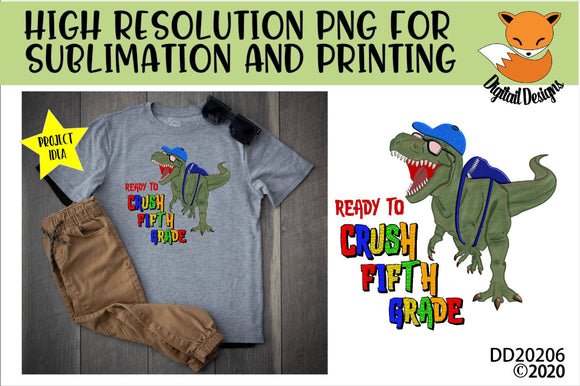 Dinosaur T-Rex Crush Fifth Grade Sublimation Design