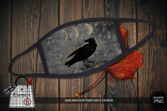 Crow Moon - PNG - Sublimation Printable Mask Design