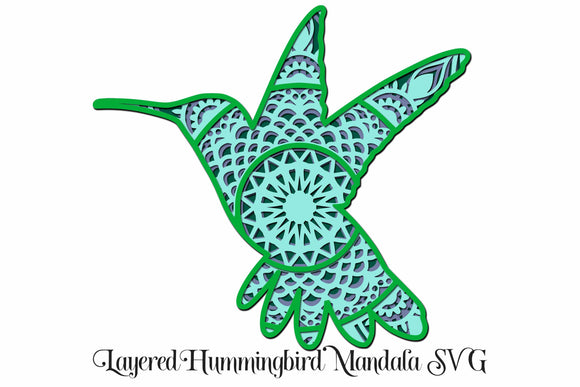 3D Layered Hummingbird Mandala SVG - 4 Layers
