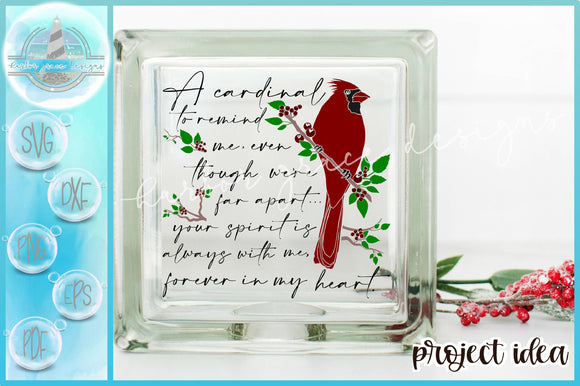 Cardinal To Remind Me Quote Glass Block Design Christmas SVG