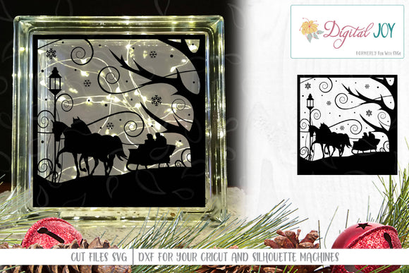 Two Horse Open Sleigh SVG Cut File for Glass Block