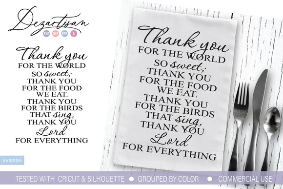 Thank You For the Food We Eat SVG | DXF Cut File