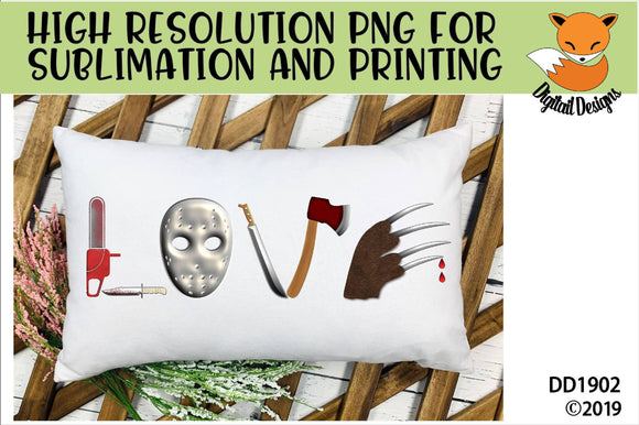 Love Scary Movie Horror Sublimation PNG