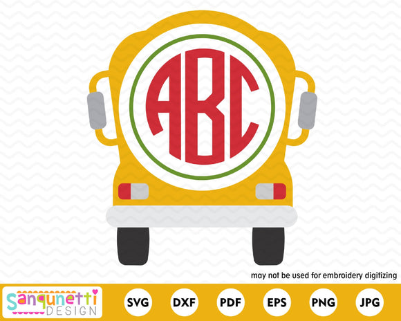 School Bus For Monogram SVG Cutting file