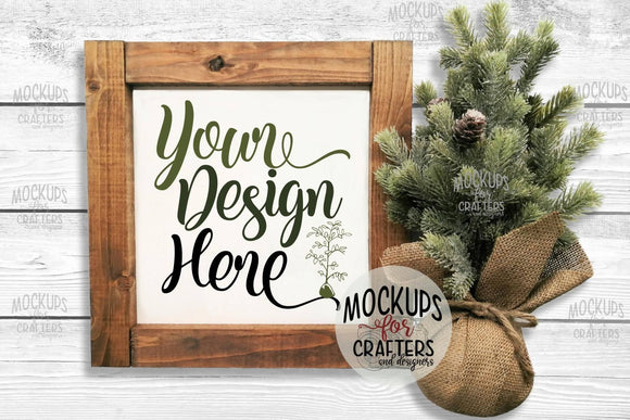 Mock-Up - Wood Sign - Winter, Christmas