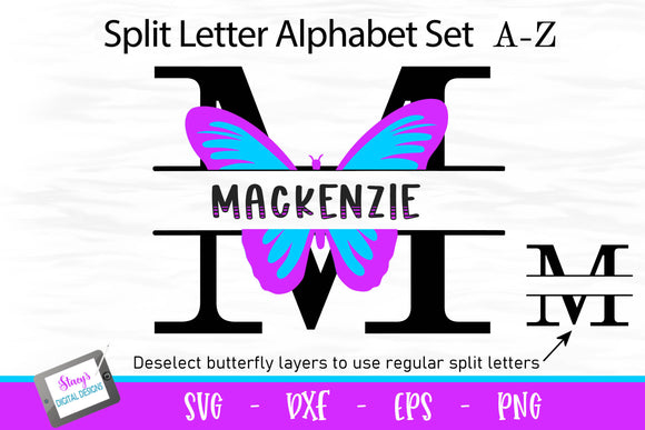 Butterfly Split Letters - 26 split monogram SVG files